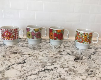 Red Floral Stacking Mugs Vintage Funky Set of Four Groovy Stacking Coffee Cups Made in Japan Drinkware Tea
