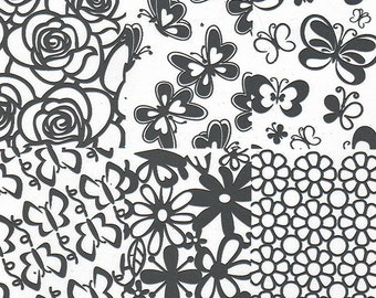 Stamping Plate (roses, daisies, butterly) ND-Z11