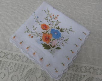Orange Blue Floral Ladies Hankie / Flower Handkerchief / Floral Hanky / Gift for Her / Pocket Hankie / Orange Blue Green White / Crafting