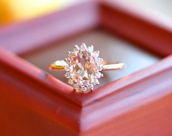 ROSE GOLD Morganite halo ring, diamond halo ring, vintage inspired engagement ring, floral halo design,