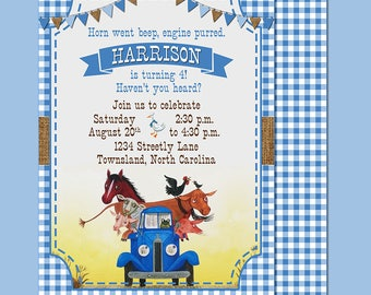 Little Blue Truck Birthday Party Invitation 5x7