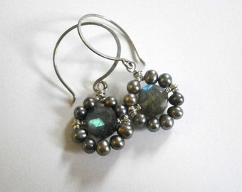 Delicate Pearl Flower Labradorite Earrings Silver Circle Earrings Small Pear Drop Gemstone Dangles June Birthstone