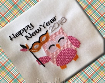 2016 New Years Eve Owl Machine Embroidery Design Digital Pattern INSTANT DOWNLOAD Emily Reece Mask Auld Lang Syne Party Festive Holiday