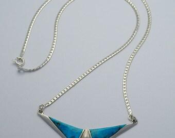 Turquoise necklace, vintage necklace, geometric necklace, boho necklace, native american necklace, turquoise pendant, vintage pendant