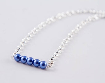 Periwinkle Blue Bead Bar Necklace, Glass Pearl Minimalist Jewelry, Layering Necklace, 18 inch, 20 inch & 22 inch Lengths or as a Set