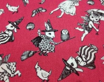 Japanese Cotton Linen Blended Fabric - Cosmo Textile, Half Yard - Kawaii Rabbit, Cat, Animal, Pink - NT454