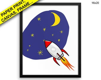Space Prints Rocket Canvas Wall Art Space Framed Print Rocket Wall Art Canvas Space Nursery Art Rocket Nursery Print Space Printed Decor