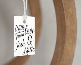 With love personalized wedding favor tags, custom gift tags