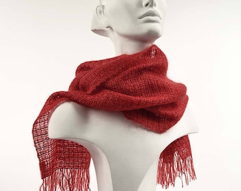 Handwoven red scarf in kidmohair and tencel. Kidmohair scarf, woven by hand, bright red. Little red wrap.
