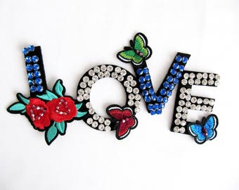 Butterfly LOVE Patch,Blue Love Applique,Crystal Beaded Love Letter,Love Patch,Embroidered Love Patch, Love Accessory,Costume Embellishment