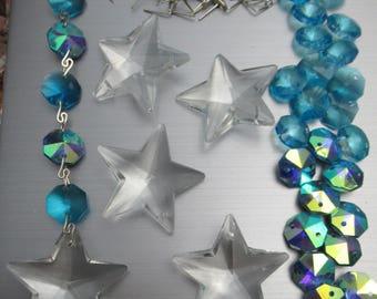 "60 piece CRYSTAL PRISMS craft windchimes 1.5"" Sparkling Clear Star Prisms & 14mm 2 hole Aqua AB Blue  Octagons  Bead Chandelier Decor Supply"
