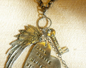 Fine silver heart, wing and key talisman necklace