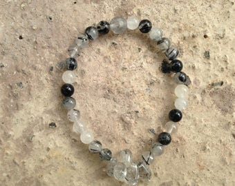 Tourmalinated Quartz Dew Dropplet stretch Bracelet