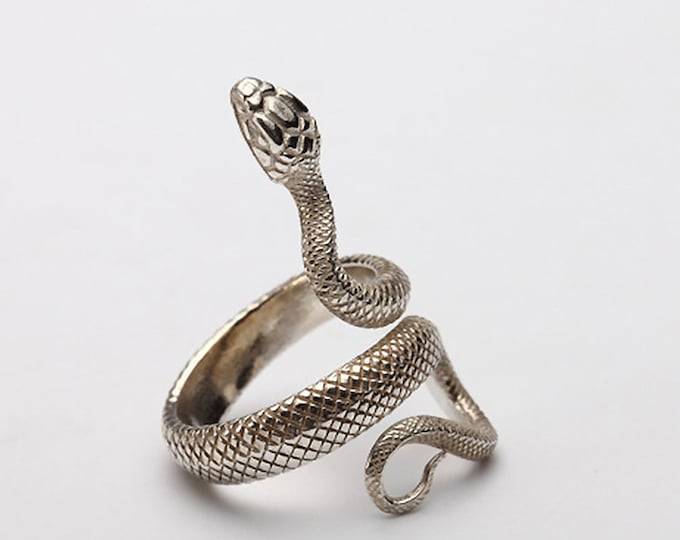 Sterling Silver Snake Ring | Stylish Viper Serpent Adjustable Ring | Snake Jewelry for Men and Women | Animal Ring | Vintage Tribal Ring