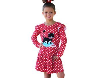 Little Girls' Cat Applique Dress, size 2, 3, 4