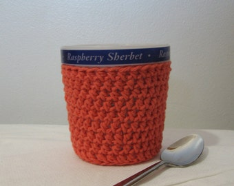 Handmade Ice Cream Cozy Pint Cover - Coral Cotton Cup Cozy - Crochet Ice Cream Cozy