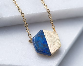 Blue Lapis Necklace, Gold Hexagon Necklace, 14K Gold Pendant necklace, Gold Necklace, Lapis Hexagon Necklace, Geometric Necklace, N346-BL