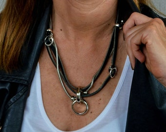 Leather Jewelry, Statement Jewelry, Statement Bracelet, Unique Jewelry, Handmade Jewelry, Handmade Bracelet,  Strong Bracelet, NC-1001