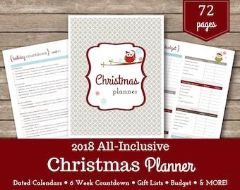 2018 Christmas Planner / Christmas Printables / Christmas Organizer  / Christmas Shopping / 6 Week Countdown / Holiday Planner