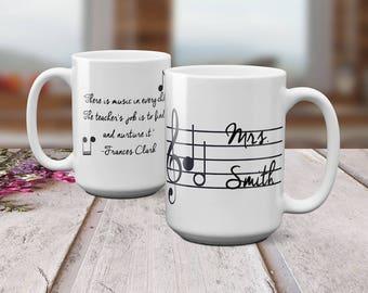 Music Teacher Mug - Personalized Teacher Mug - Music Teacher - Music Teacher Gifts - Teacher Appreciation - 15 oz  Mug- Gift for Teacher