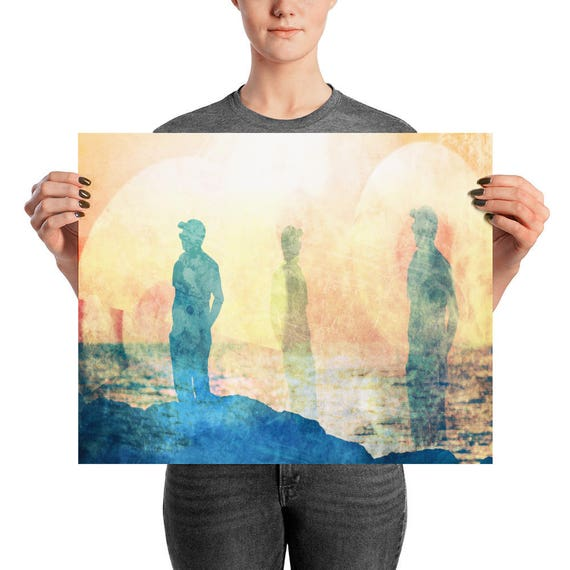 Ocean poster Sea wall art sun wall art illusion fine art retro