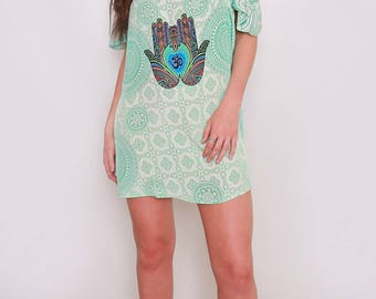 LAST 1 -Hamsa and Om Printed ladies Cold Shoulder Mini Dress | Adjustable straps | One Size | Boho Style Casual Flowing| Designer chic style