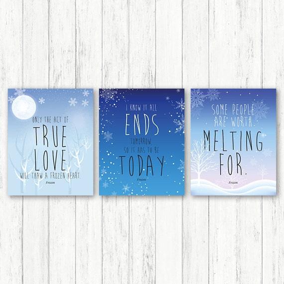 Frozen printable, frozen nursery print blue, frozen baby decor, baby decor, set of 3 prints, frozen wall art, frozen nursery art