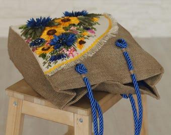 Bright Eco bag_handmade satin ribbons embroidery_handbag_tote_shoulder bag_Fisenko brand