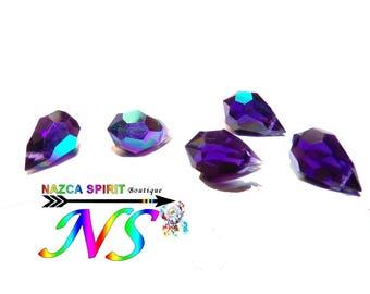 "4 faceted 5 mm x 11 mm Swarovski Crystal drops Briolettes (""0.43 x""0.19 "") color Tanzanite AB origin Austria"