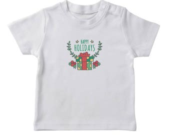 Happy Holidays Text Christmas Gift Graphic  Boy's White T-shirt