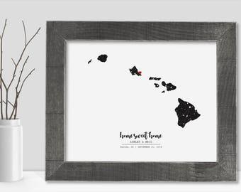 Hawaii Map State of Hawaii Wall Art Frame Canvas Guest Book Print Hawaii Wedding Gift Hawaii Love Night Sky Star Chart Constellation