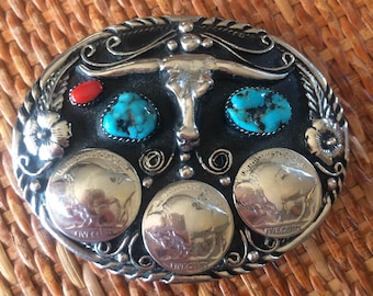 Vintage sterling silver and turquoise Buffalo Nickel belt buckle