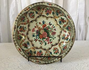 vintage Daherware dish, flower metal dish, dresser dish