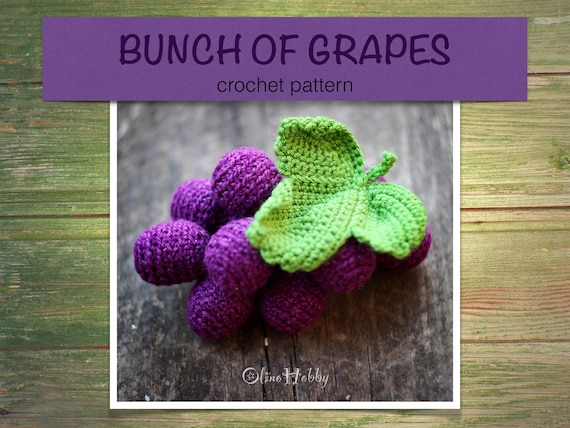 Grape Crochet Pattern Pdf Crochet Grape Pattern Bunch Of Grapes