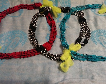 Infinity crocheted beaded necklace
