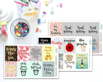 Full Box UK Holidays Planner, Penpal and Journalling Stickers