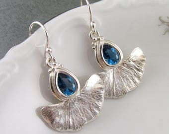 Blue spinel earrings, handmade eco friendly fine silver gingko leaf earrings-OOAK