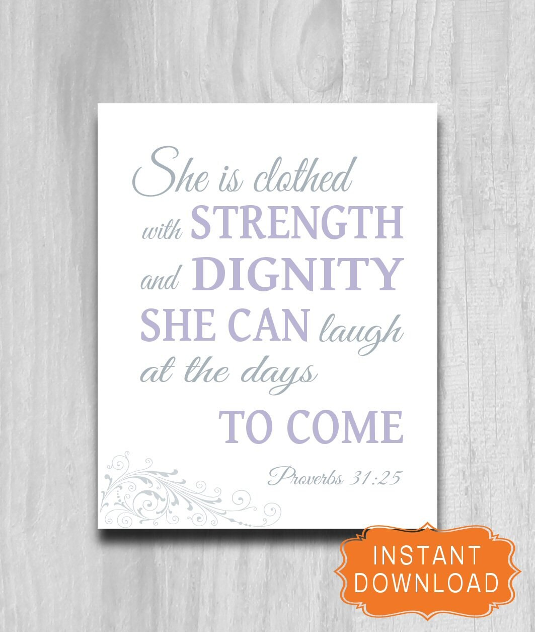 Proverbs 31 25: Proverbs 31 Woman She Is Clothed In Dignity Printable Print