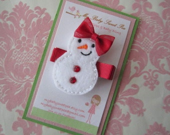 Girl hair clips - Christmas hair clips - snowman hair clips - girl barrettes