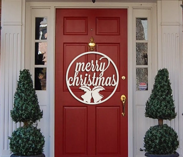 Merry Christmas Sign Door Hanger Wall Hanging Cut Out