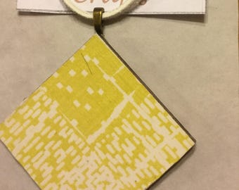 Decoupage yellow pendant