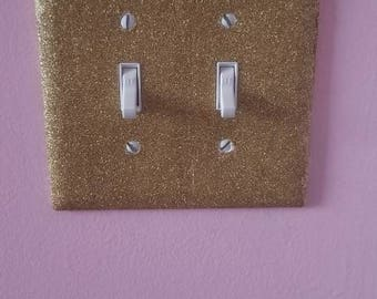 Double light switch cover, gold light switch cover, nursery room decor