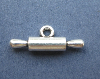 5 Rolling Pin Charms - Rolling Pin Pendants - Rolling Pin - Baking Charm - Cooking Charm - Antique Silver - 21.7mm x 7.5mm -- (E2-10677)