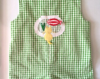 Vintage Baby 60s Jumper, Green, White, Checkered, Romper by Baby Boutique Saks Fifth Ave (6 mos)