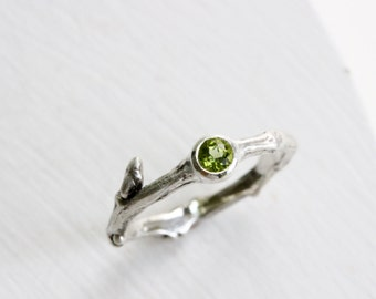 Silver Twig Ring with Peridot, Natural Peridot Silver Twig Ring, August Birthstone
