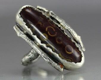A Jasper  Sterling Silver Artisan Handmade Metalwork Ring