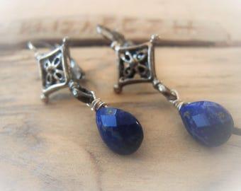 Lapis Lazuli Earrings Teardrop Earrings Silver Earrings Gemstone Earrings Item No. JE2292