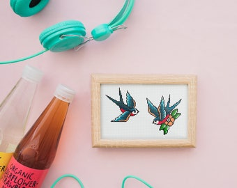 Tattoo Swallow - Modern old school tattoo cross stitch pattern PDF - set of 2 patterns - Instant download
