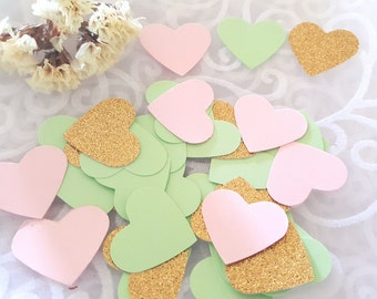 Heart Confetti 200pc,Heart confetti,Pink and mint confetti,Mint and gold confetti,Mint and pink heart confetti,Pink and gold heart confetti