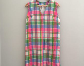 """FREE US SHIPPING   70s Vintage Flourescent Neon Pink and Green Plaid Wool Shift Dress   40"""" Bust - See Measurements"""
